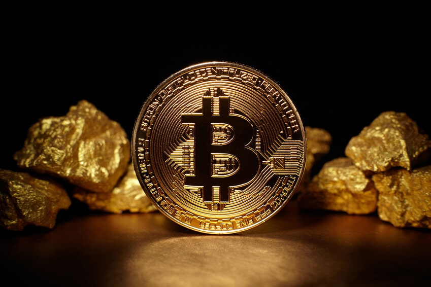 Gold-Münze - Bitcoin