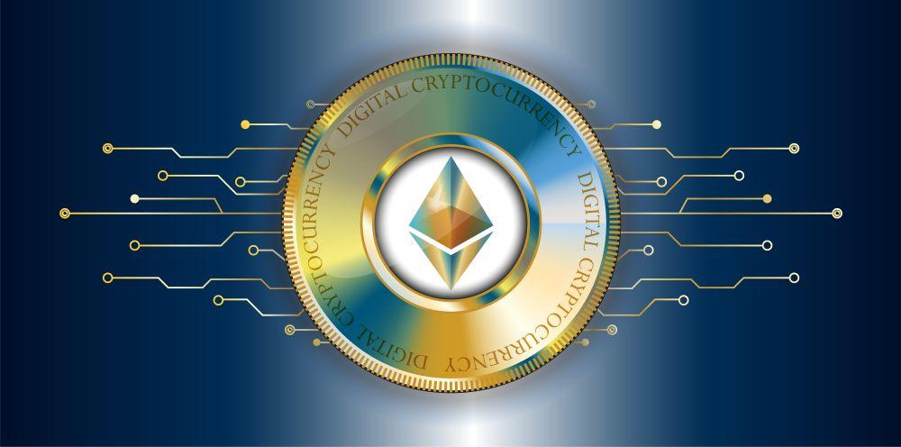 Ethereum-Logo mit Münze
