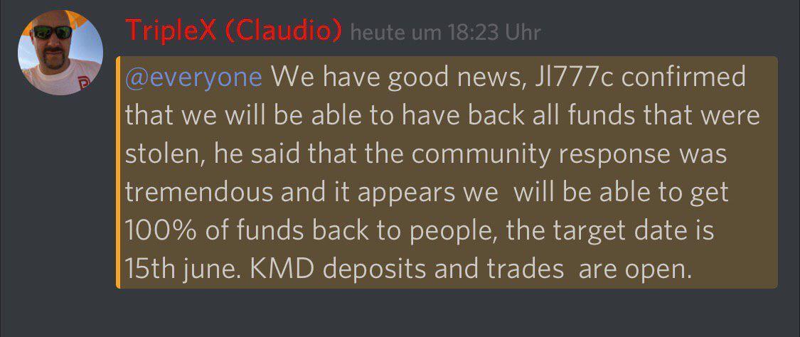 Komodo Discord - back all funds