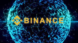 Binance Schriftzug mit elektronischer Kugel - Binance CEO CZ