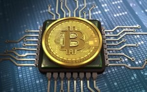 Bitcoin Münze mit Draht