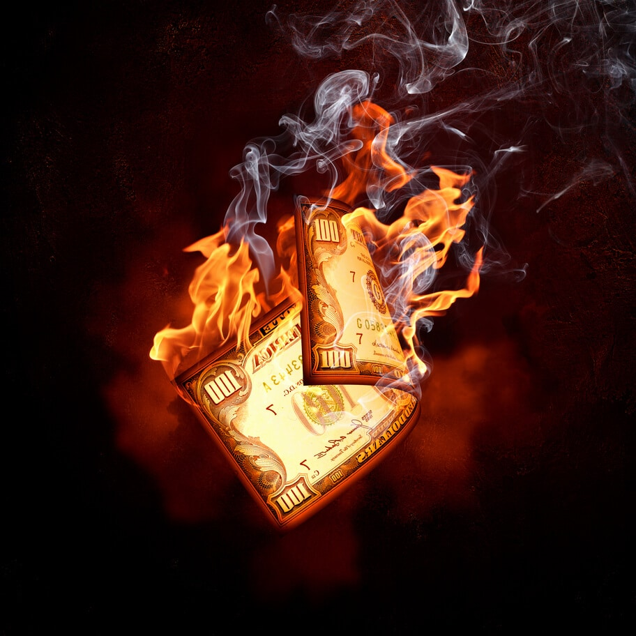 Geldschein verbrennt - Stellar Lumen Burn