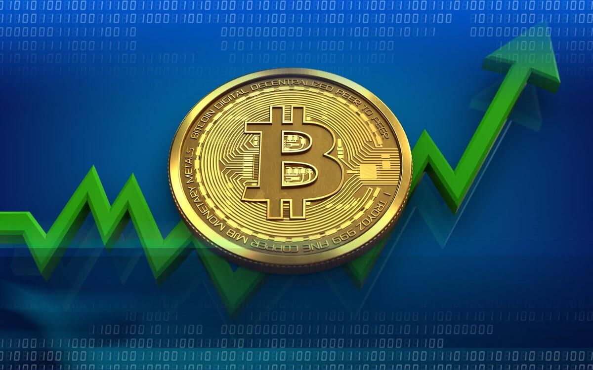 Bitcoin Münze Pfeil hoch - Bitcoin 2019 Bitcoin 2020