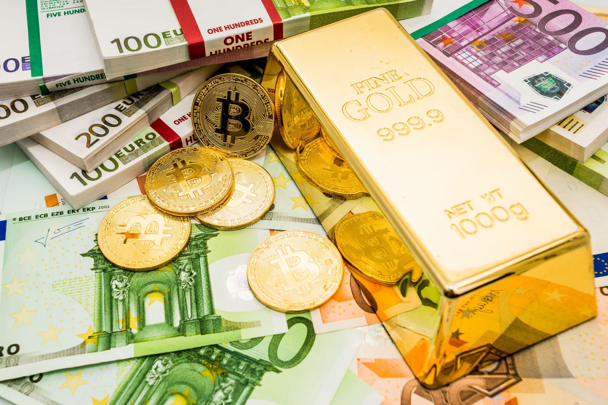Deutsche Bank Krypto - Deutsche Bank: Krypto - Bargeld Bitcoinmünzen Goldbarren