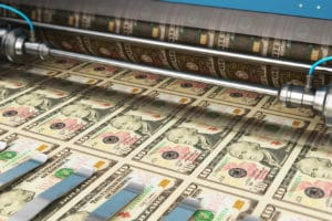 10 US-Dollar Schein gedruckt - Bitcoin Bullenmarkt