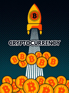 Rakete mit Bitcoin Münzen - Bitcoin Halving 2020