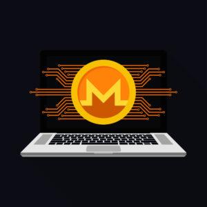 Monero Logo mit Strichen und Tastatur - Cryptojacking Monero Mining