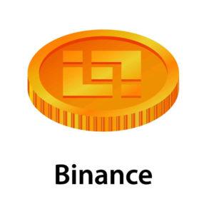 Binance Logo in Goldmünze mit Schriftzug