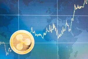 Ripple Goldmünze mit Chart und blauer Weltkarte