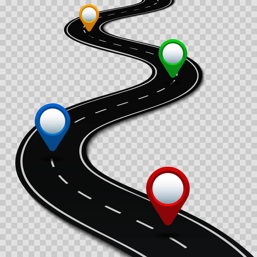 Roadmap mit farbigen Punkten
