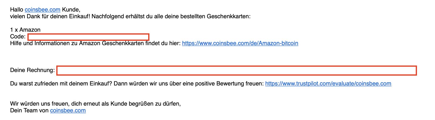 Coinsbee.com Buchungsbestätigung
