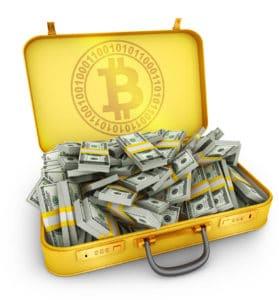 Bitcoin Gold-Koffer mit Dollar-Scheinen Fidelity Investments