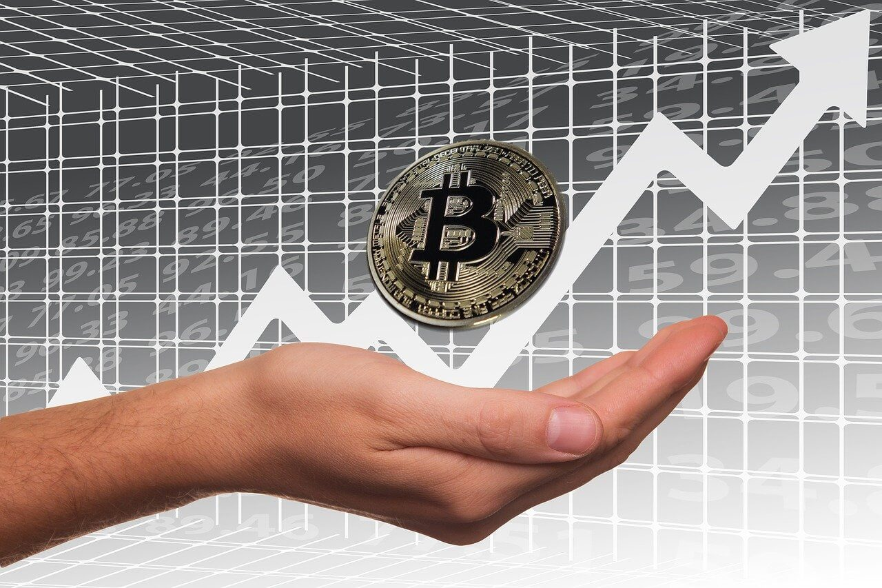 Bitcoin Hype Gold Münze Pfeil