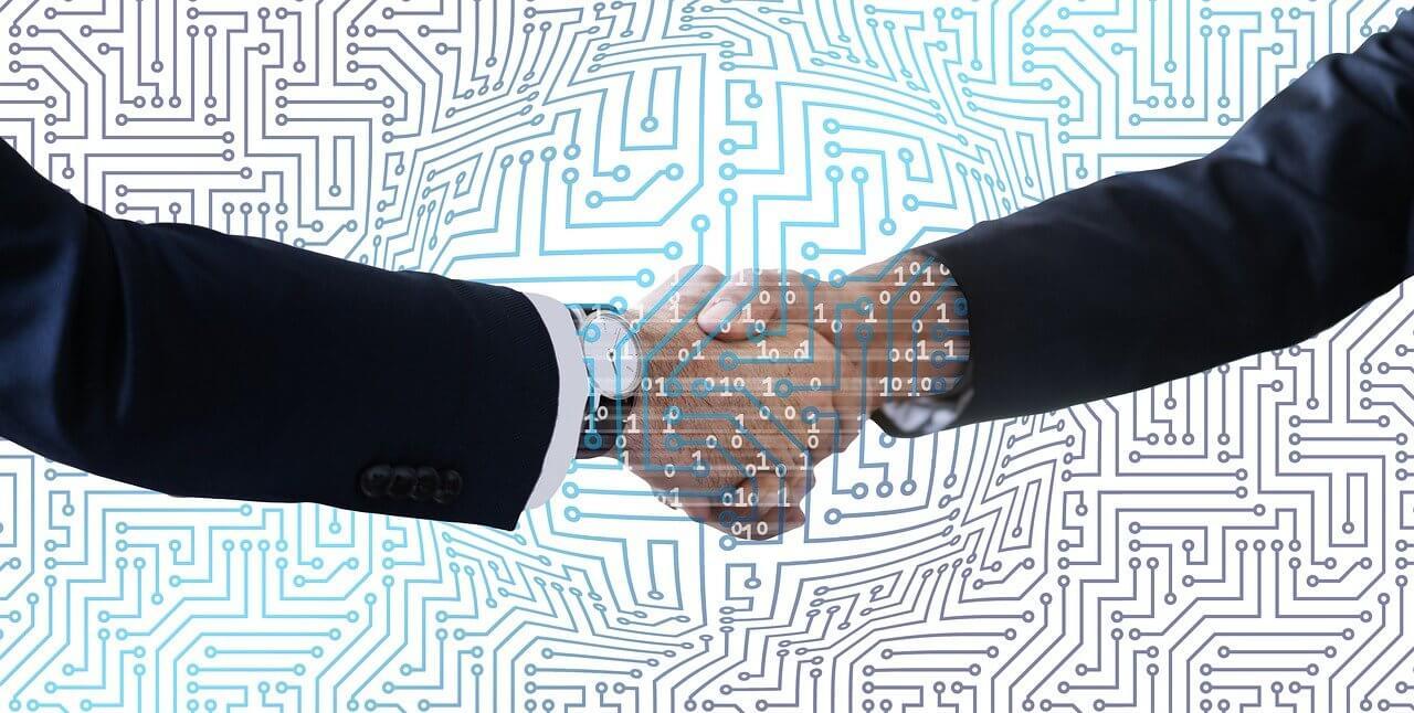 Händeschütteln Security Token auf Stellar Lumen Blockchain