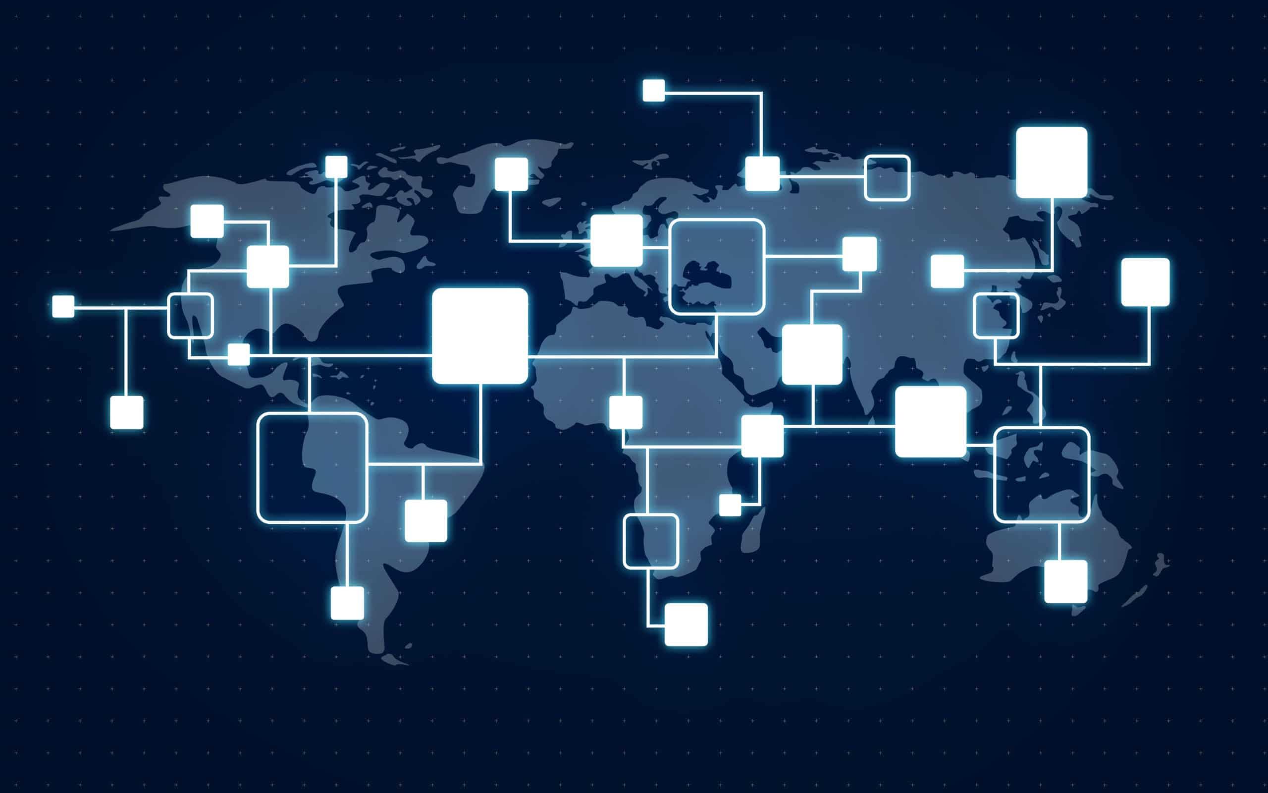 Weltkarte mit Blöcken dezentrale Organisation