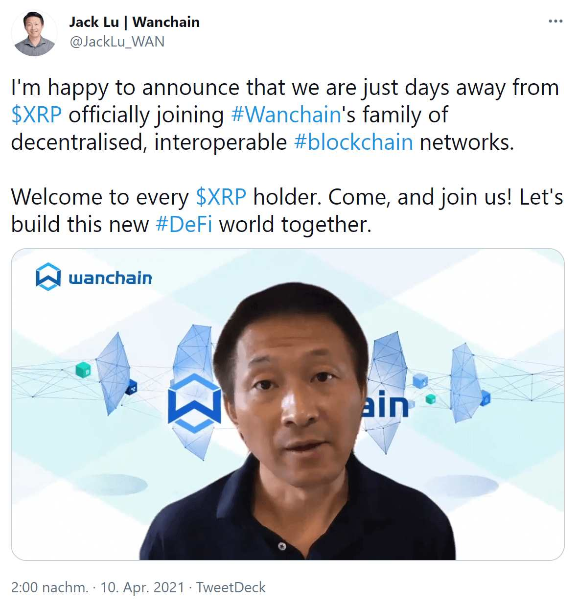 DeFi News Wanchain Tweet