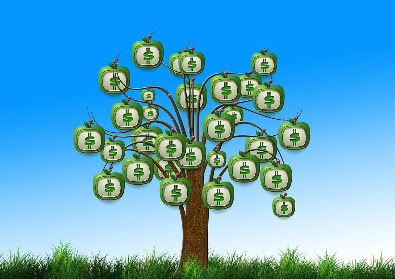 Gelddrucken Geld an Bäumen