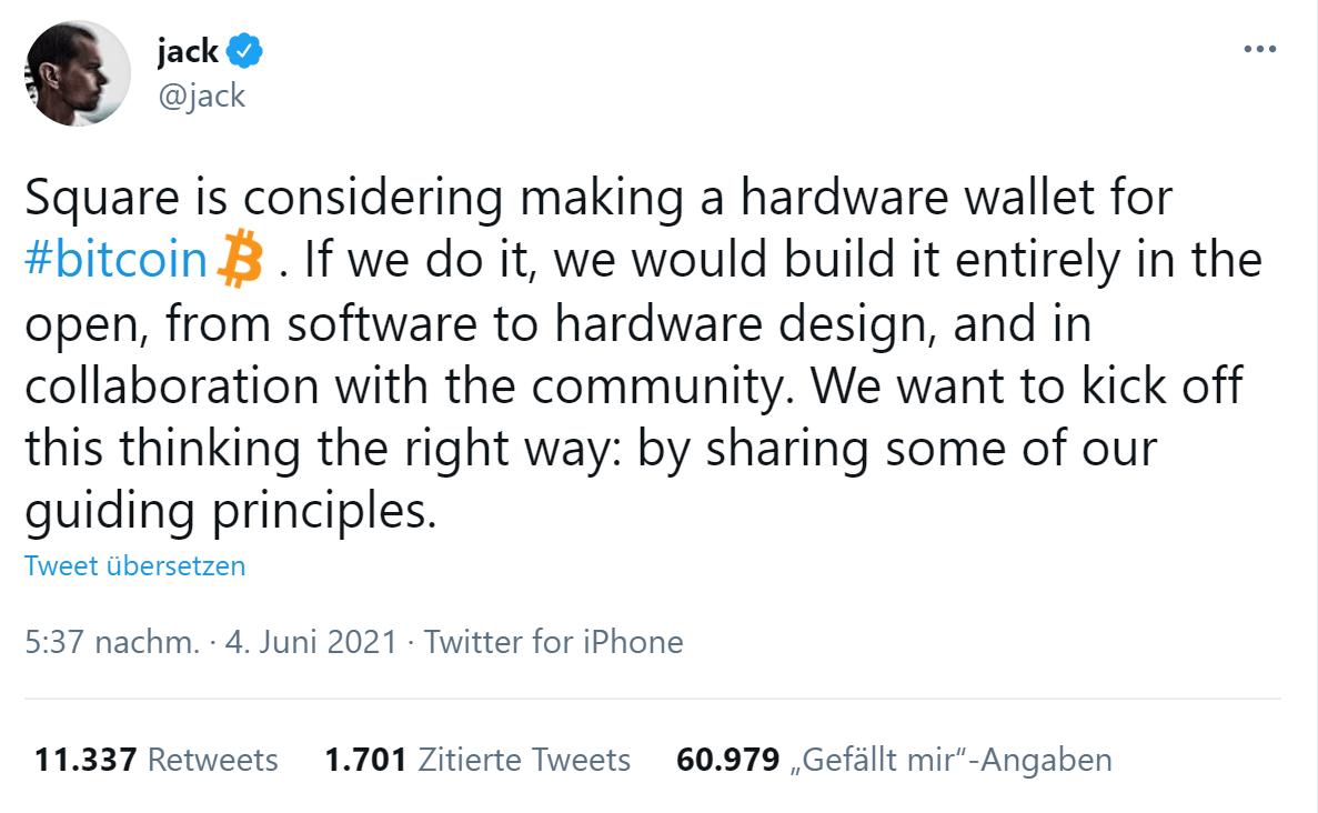 Bitcoin Zahlungsmittel Jack Tweet