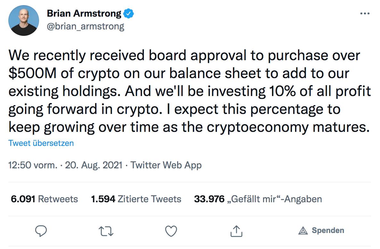 Bitcoin Vermögen Brain Armstrong Tweet