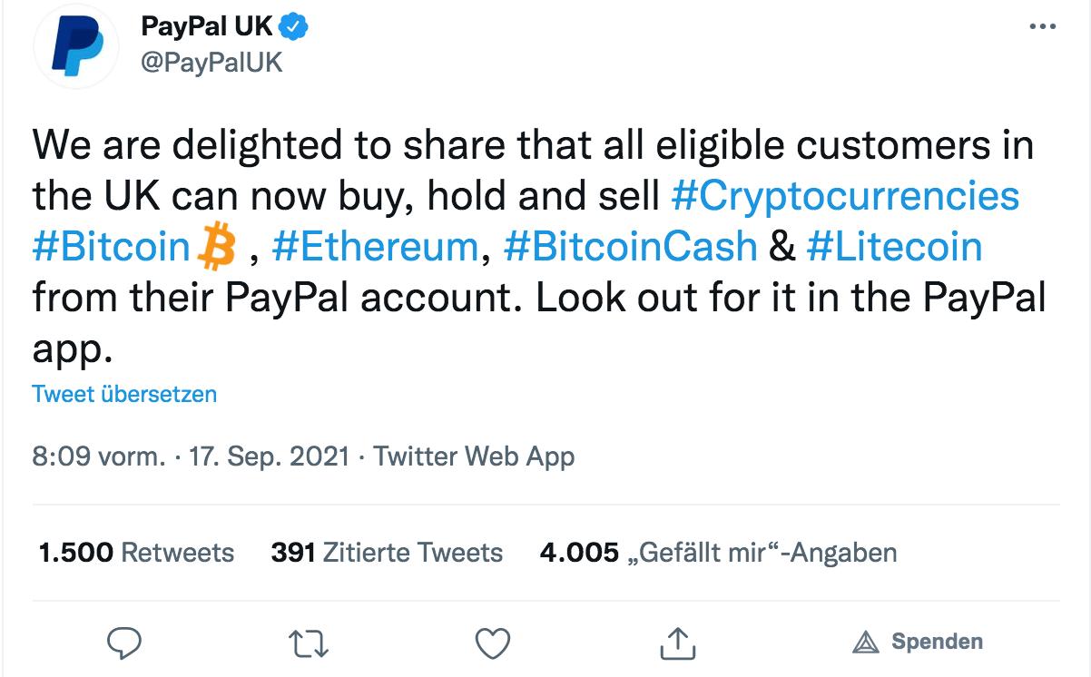 PayPal Krypto Service Tweet