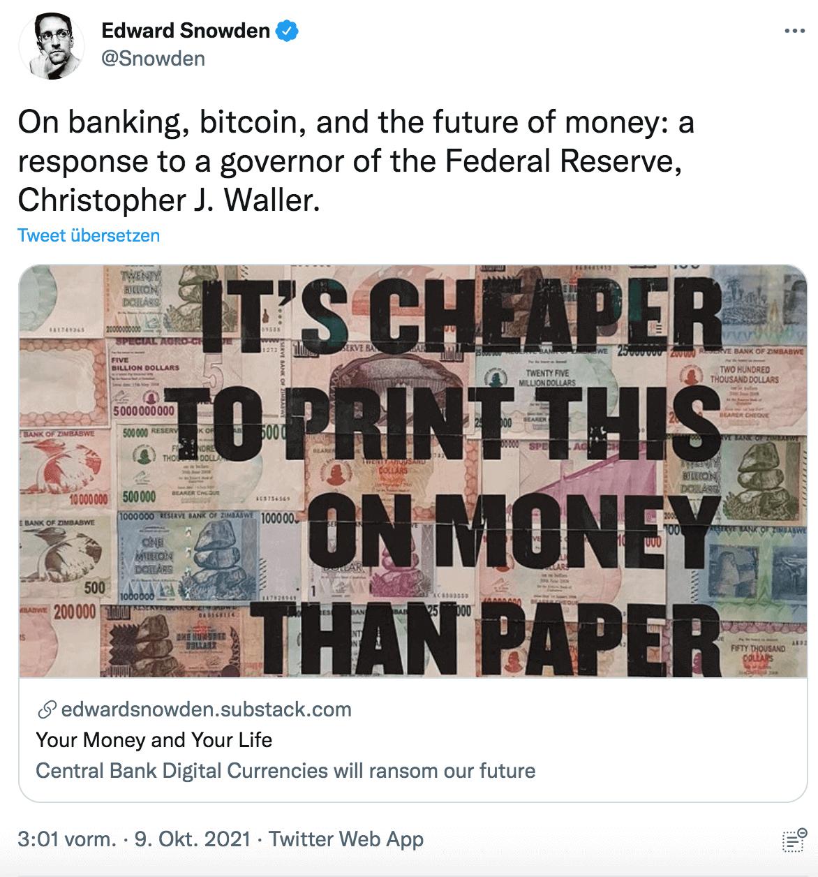 Geldstabilität Edward Snowden Twitter